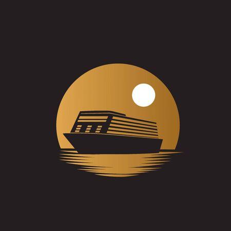 Ship cruiser on the ocean with gold moon or sun background illustration logo design Ilustração