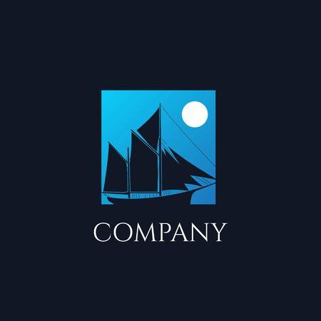 Ship sailboat on the ocean with blue sky and moon square background illustration logo design Ilustração