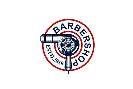 Barbershop circle seal emblem logo design with hairdryer illustration
