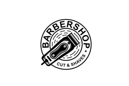 Barbershop circle seal emblem logo design with razor hair illustration