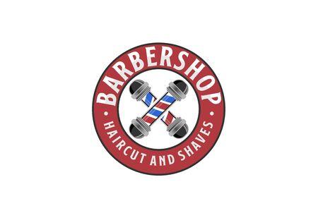 Barbershop circle seal emblem logo design with red blue barber sign illustration