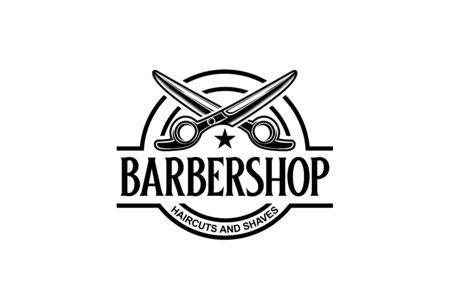 Barbershop circle seal emblem logo design with scissor illustration Çizim
