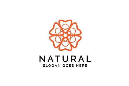 Beautiful orange flower simple line art illustration logo design Stock Illustratie