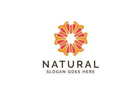 Beautiful orange flower pattern illustration logo design Stock Illustratie