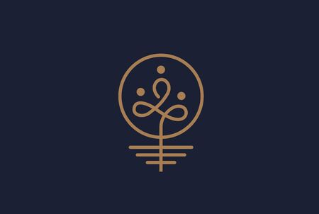 Simple modern plant with leaf, roots, soil and human gold line art logo design Çizim