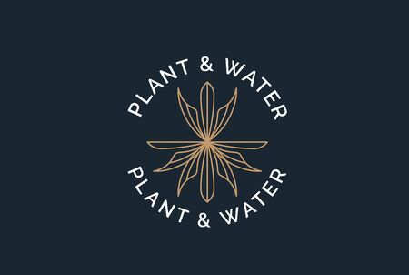 Simple modern plant with golden leaf, root and water logo design