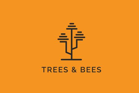 Simple modern tree logo design with beehive leaf line art illustration Фото со стока - 130790635