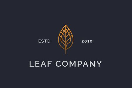Simple luxurious modern golden leaf logo design  イラスト・ベクター素材