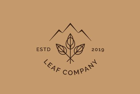 Vintage classic leaf logo design with three leaf and mountain illustration