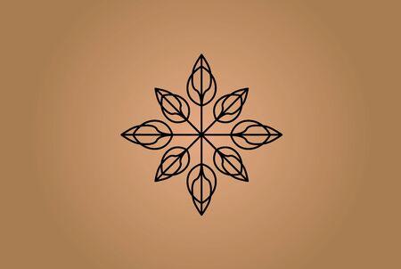 Abstract classic brown leaf compass arrow holistic logo design