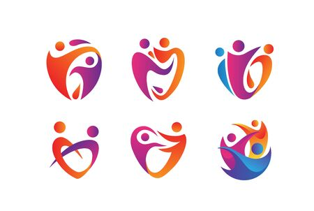 People care fun colorful illustration for health and education logo design set