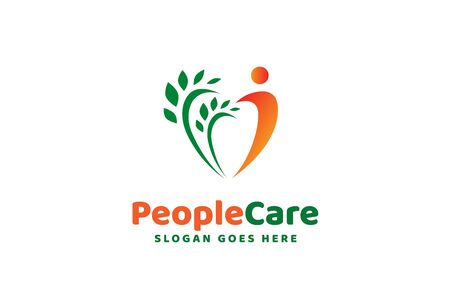 People care fun colorful illustration for health and education logo design