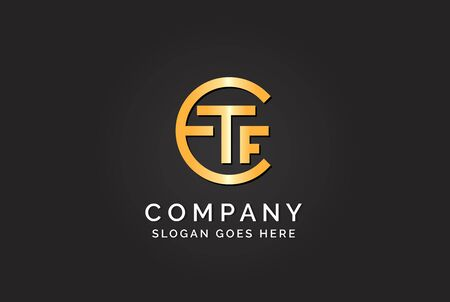Luxury initial letter ETF golden gold color logo design. Tech business marketing modern vector Illustration