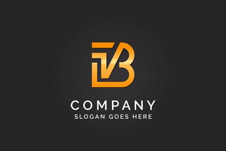 Luxury initial letter IVB golden gold color logo design. Tech business marketing modern vector