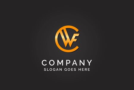 Luxury initial letter CWF golden gold color logo design. Tech business marketing modern vector