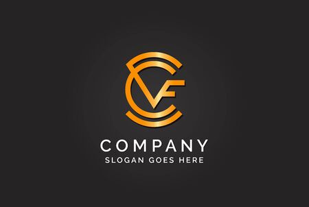 Luxury initial letter CVF golden gold color logo design. Tech business marketing modern vector