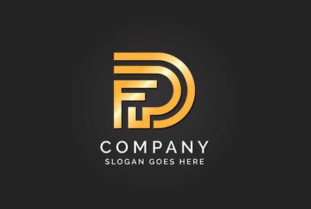 Luxury initial letter FPD golden gold color logo design. Tech business marketing modern vector