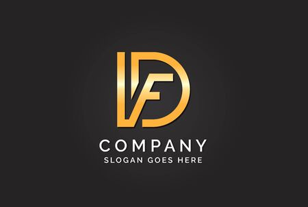 Luxury initial letter DVF golden gold color logo design. Tech business marketing modern vector