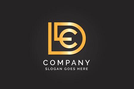 Luxury initial letter DLE golden gold color logo design. Tech business marketing modern vector