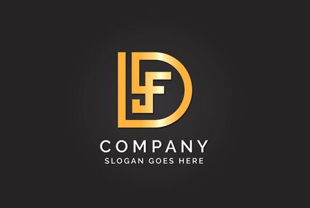 Luxury initial letter DLF golden gold color logo design. Tech business marketing modern vector Illustration