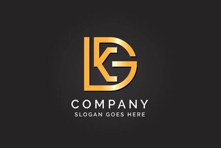 Luxury initial letter DKG golden gold color logo design. Tech business marketing modern vector