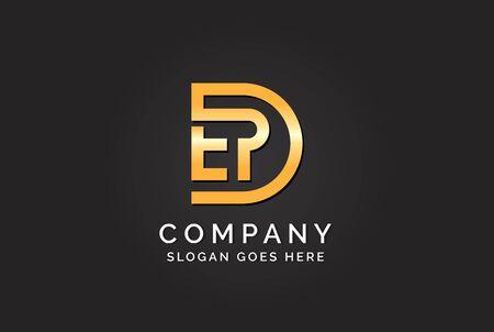 Luxury initial letter DEP golden gold color logo design. Tech business marketing modern vector
