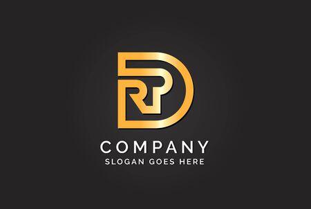 Luxury initial letter DRP golden gold color logo design. Tech business marketing modern vector