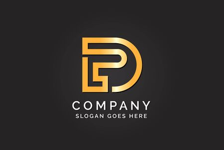 Luxury initial letter DPL golden gold color logo design. Tech business marketing modern vector Stock Illustratie