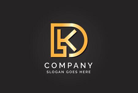 Luxury initial letter DLK golden gold color logo design. Tech business marketing modern vector