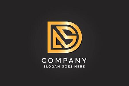 Luxury initial letter DAS golden gold color logo design. Tech business marketing modern vector