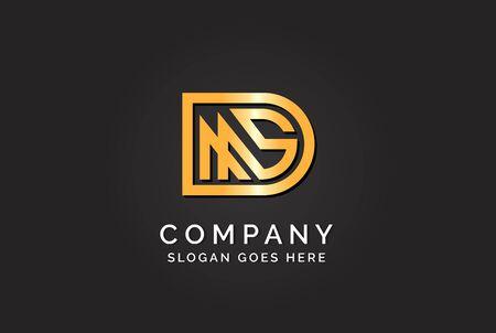 Luxury initial letter DMS golden gold color logo design. Tech business marketing modern vector