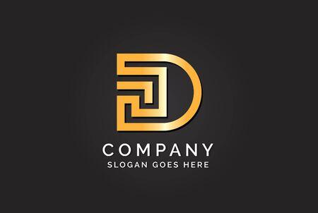 Luxury initial letter DS golden gold color logo design. Tech business marketing modern vector