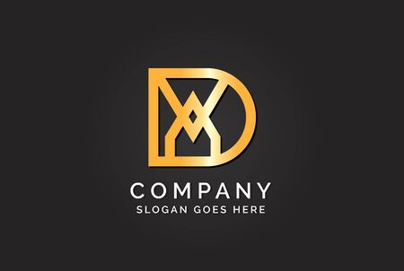 Luxury initial letter DAV golden gold color logo design. Tech business marketing modern vector Stock Illustratie