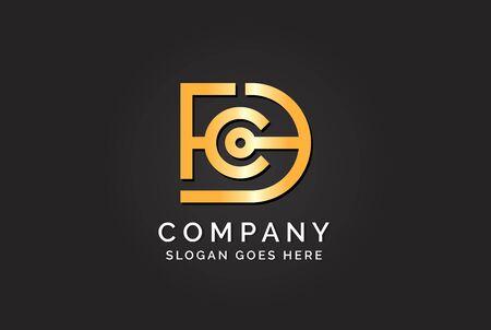 Luxury initial letter DFC golden gold color logo design. Tech business marketing modern vector