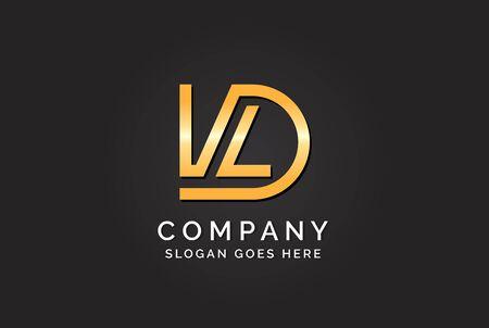 Luxury initial letter DVL golden gold color logo design. Tech business marketing modern vector