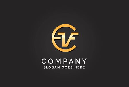 Luxury initial letter CVF golden gold color logo design
