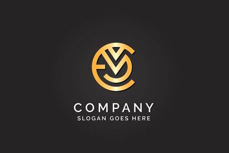 Luxury initial letter EVM golden gold color logo design Stock Illustratie