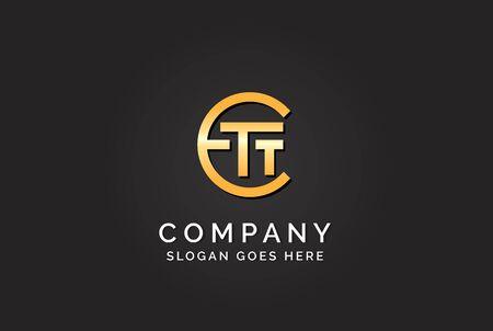 Luxury initial letter ETT golden gold color logo design