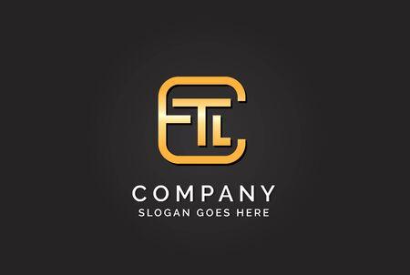Luxury initial letter ETL golden gold color logo design Stock Illustratie