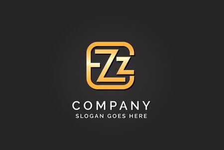 Luxury initial letter EZZ golden gold color logo design