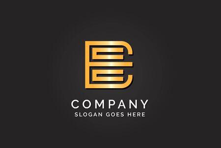 Luxury initial letter ECC golden gold color logo design Stock Illustratie