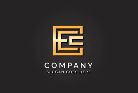 Luxury initial letter EEC golden gold color logo design