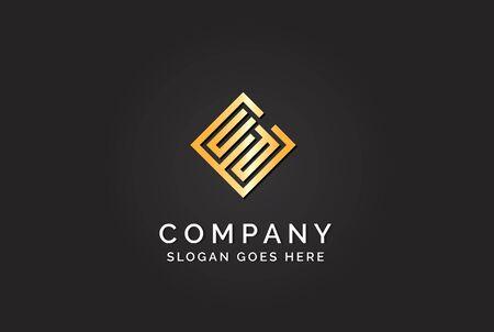 Luxury initial letter ECD golden gold color logo design