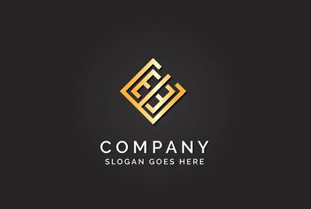 Luxury initial letter EEE golden gold color logo design