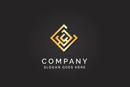 Luxury initial letter EWC golden gold color logo design