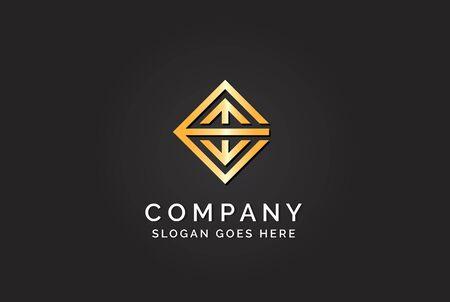 Luxury initial letter EMW golden gold color logo design Stock Illustratie