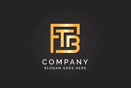 Luxury initial letter FTB golden gold color logo design Stock Illustratie