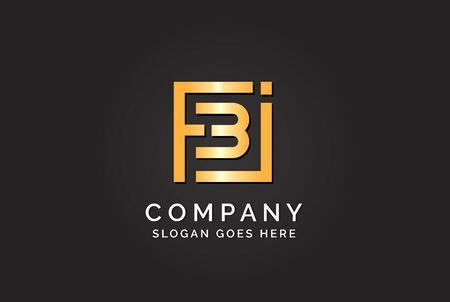 Luxury initial letter FBJ golden gold color logo design Stock Illustratie
