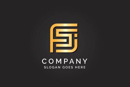 Luxury initial letter FSJ golden gold color logo design
