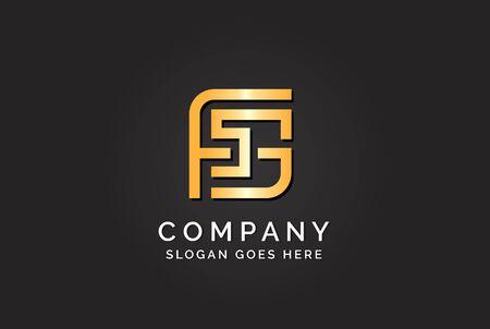 Luxury initial letter FSG golden gold color logo design